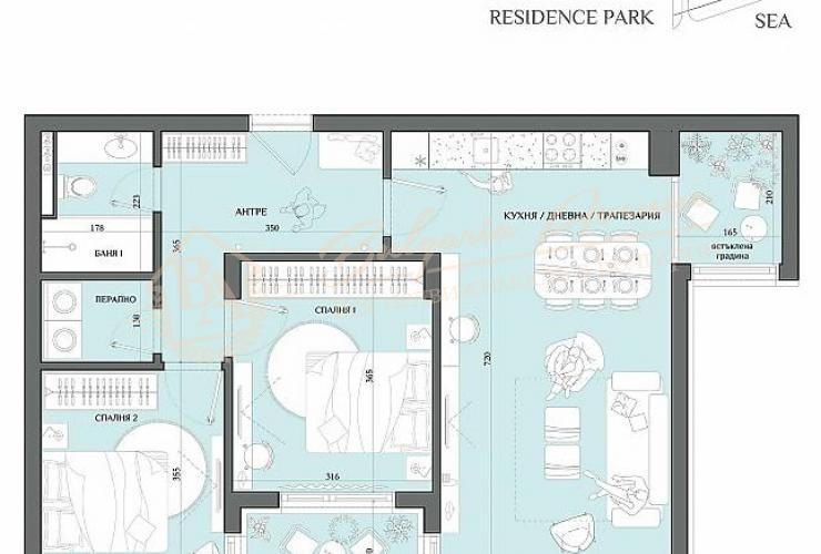 Планировка квартиры с 2 спальнями в Сарафово, г.Бургас